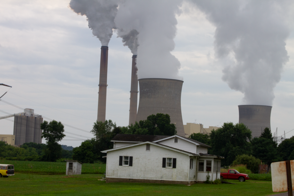 View of the Gavin power plant from the front yard of one of the few remaining houses in the old part of Cheshire Ohio