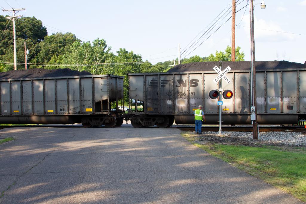 Train cars carrying coal near Middleport Ohio